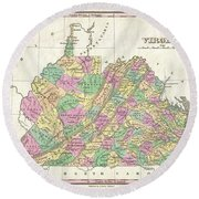 1827 Finley Map Of Virginia Round Beach Towel