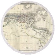 1829 Lapie Historical Map Of The Barbary Coast In Ancient Roman Times Round Beach Towel