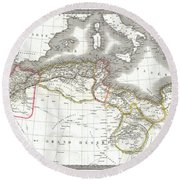 1829 Lapie Map Of The Eastern Mediterranean Morocco And The Barbary Coast Round Beach Towel