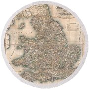 1830 Pigot Pocket Map Of England And Wales Round Beach Towel