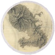 1831 Depot De La Marine Nautical Chart Or Map Of Martinique West Indies Round Beach Towel