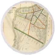 1831 Hooker Map Of New York City Round Beach Towel