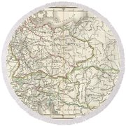 1832 Delamarche Map Of Germany In Roman Times Round Beach Towel