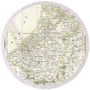 1832 Delamarche Map Of Holland And Belgium Round Beach Towel