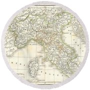 1832 Delamarche Map Of Northern Italy And Corsica Round Beach Towel