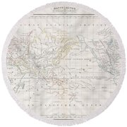 1832 Malte Brun Map Of The World On Mercator Projection Round Beach Towel
