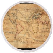 1833 School Girl Manuscript Wall Map Of The World On Hemisphere Projection  Round Beach Towel