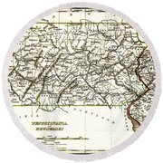 1835 Pennsylvania And New Jersey Map Round Beach Towel