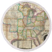 1835 Webster Map Of The United States Round Beach Towel
