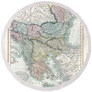 1836 Cary Map Of Greece And The Balkans Round Beach Towel