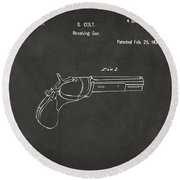1836 First Colt Revolver Patent Artwork - Gray Round Beach Towel