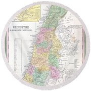 1836 Tanner Map Of Palestine  Israel  Holy Land Round Beach Towel
