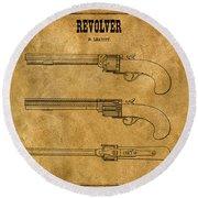 1837 Leavitt Revolver Patent Art 1 Round Beach Towel
