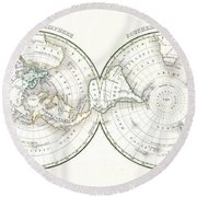 1838 Bradford Map Of The World On Polar Projection Round Beach Towel