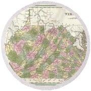 1838 Bradford Map Of Virginia Round Beach Towel