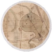 1840 Manuscript Map Of The Collect Pond And Five Points New York City Round Beach Towel