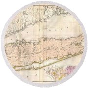 1842 Mather Map Of Long Island New York Round Beach Towel by Paul Fearn