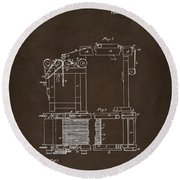 1844 Charles Goodyear India Rubber Goods Patent Espresso Round Beach Towel