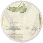 1846 Us Coast Survey Map Of Nantucket  Round Beach Towel by Paul Fearn