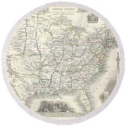 1851 Tallis And Rapkin Map Of The United States Round Beach Towel