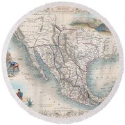 1851 Tallis Map Of Mexico Texas And California  Round Beach Towel