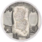 1852 Levasseur Map Of The Department Du Rhone France  Beaujolais Wine Region Round Beach Towel