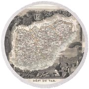 1852 Levasseur Map Of The Department Du Var France  French Riviera Round Beach Towel