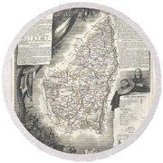 1852 Levasseur Map Of The Department L Ardeche France Round Beach Towel