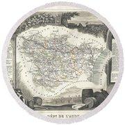 1852 Levasseur Map Of The Department L Aude France Round Beach Towel
