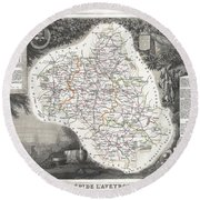 1852 Levasseur Map Of The Department L Aveyron France Roquefort Cheese Region Round Beach Towel