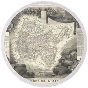 1852 Levasseur Map Of The Department L'ain France Bugey Wine Region Round Beach Towel