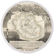 1852 Levasseur Map Of The Reunion Or The Ile Bourbon Indian Ocean Round Beach Towel