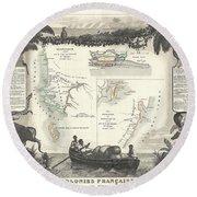 1852 Levassuer Map Of Senegal Senegambia And Madagascar Round Beach Towel