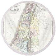 1852 Philip Map Of Palestine  Israel  Holy Land Round Beach Towel