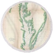 1852 Us. Coast Survey Chart Or Map Of The Chesapeake Bay And Delaware Bay Round Beach Towel