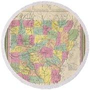 1853 Mitchell Map Of Arkansas Round Beach Towel