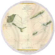 1853 Us Coast Survey Chart Or Map Of St Georges Sound Florida Round Beach Towel