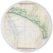 1853 Us Coast Survey Map Of The Western Florida Panhandle Round Beach Towel