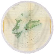 1853 Us Coast Survey Map Or Chart Of Bartaria Bay Louisiana Round Beach Towel