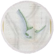 1853 Uscs Map Of Cape Charles And Vicinity Virginia Round Beach Towel