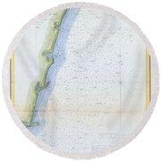 1853 U.s.c.s. Map Of The Virginia Coast Round Beach Towel