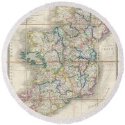1853 Wyld Pocket Or Case Map Of Ireland Round Beach Towel