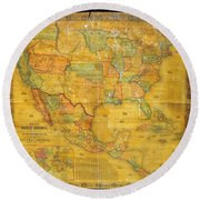 1854 Jacob Monk Wall Map Of North America Round Beach Towel