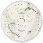 1855 Colton Map Of Antarctica The South Pole Or The Southern Polar Regions Round Beach Towel