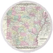 1855 Colton Map Of Arkansas Round Beach Towel