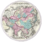 1855 Colton Map Of Asia Round Beach Towel