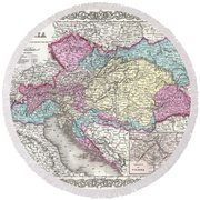 1855 Colton Map Of Austria Hungary And The Czech Republic Round Beach Towel