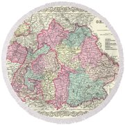 1855 Colton Map Of Bavaria Wurtemberg And Baden Germany Round Beach Towel