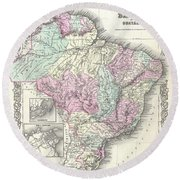 1855 Colton Map Of Brazil And Guyana Round Beach Towel