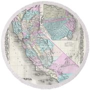 1855 Colton Map Of California And San Francisco Round Beach Towel
